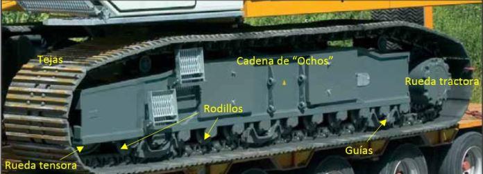 orugas de traslación, Grúa, orugas, tejas, cadena, rueda tractora, rueda tensora