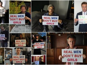 "Composición gráfica de la campaña ""Real Men Dont Buy girls"""
