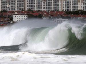 Tifón Neoguri frente en la costa de Japón