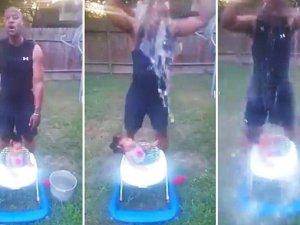 Abuelo somete a bebe al Ice Bucket