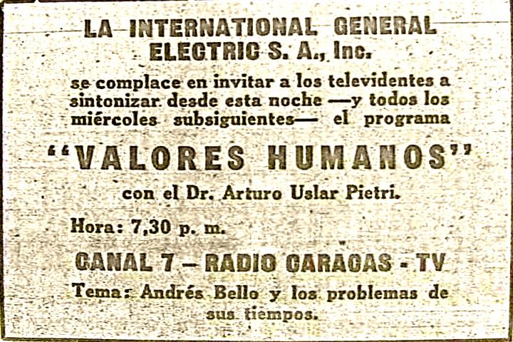 Anuncio prensa - Valores Humanos, 1953