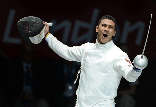 Venezuela's Ruben Limardo celebrates his