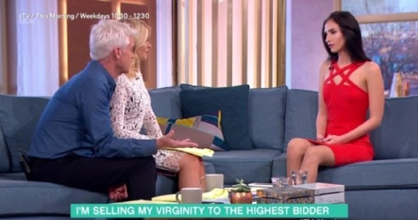 ITV handout videograb image of Aleexandra Kefren being interviewed on This Morning about her plans to sell her virginity to the highest bidder. PRESS ASSOCIATION Photo. Picture date: Tuesday November 29, 2016. Ms Kefren, 18, told the ITV talk show she is hoping to get at least one million euro to raise enough money to save her family from eviction and fund her university education. See PA story SHOWBIZ Schofield. Photo credit should read: ITV/PA Wire NOTE TO EDITORS: This handout photo may only be used in for editorial reporting purposes for the contemporaneous illustration of events, things or the people in the image or facts mentioned in the caption. Reuse of the picture may require further permission from the copyright holder.
