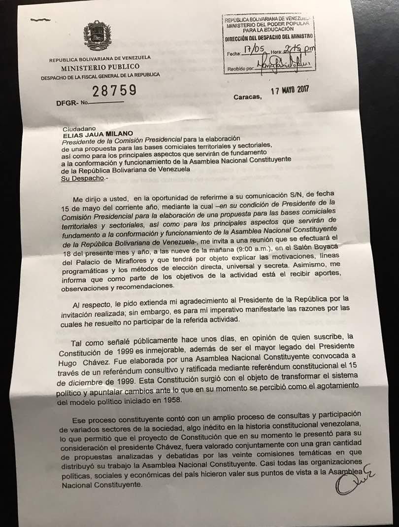 Carta Luisa Ortega Díaz