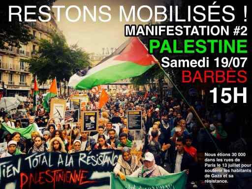 Grande manifestation à Paris le 19 juillet 2014 pour Gaza