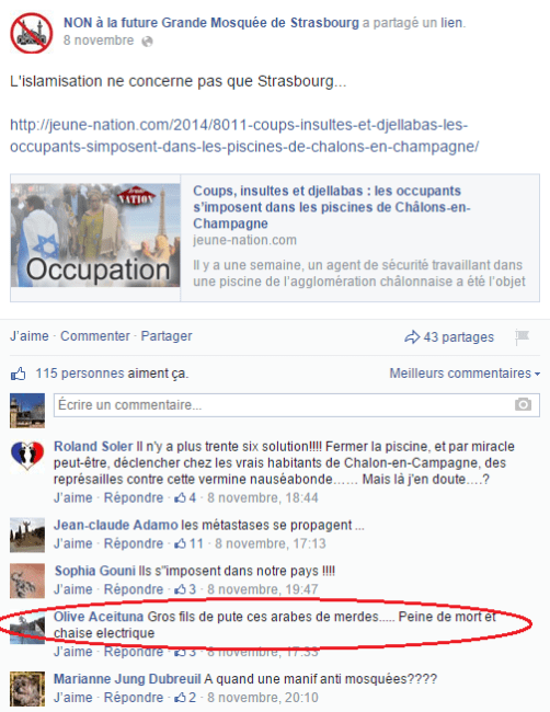 Page Facebook anti mosquée Strasbourg 17