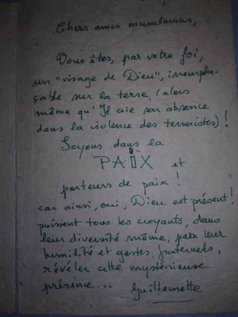 Message de soutien à la mosquée Al Warithine de Chambéry