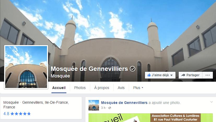 Facebook de la mosquée de Gennevilliers