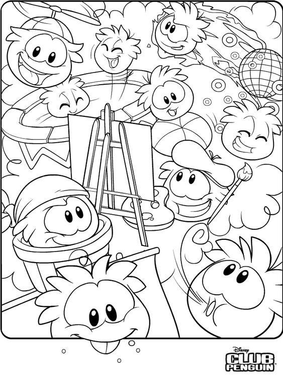 Club Penguin desenhos para imprimir, pintar e colorir
