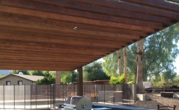 red stone outdoor kitchen gray table and chairs scottsdale - phoenix: patio covers, pergolas & ramadas ...