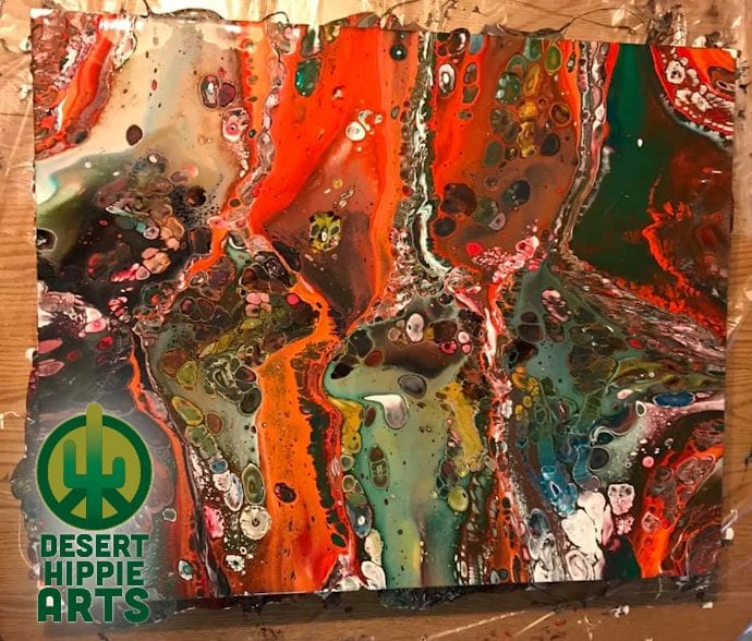 Desert Hippie Arts Big Red Acrylic Paint Pouring