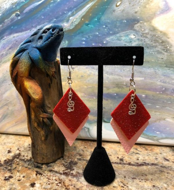 Red And Pink Music Earring 2