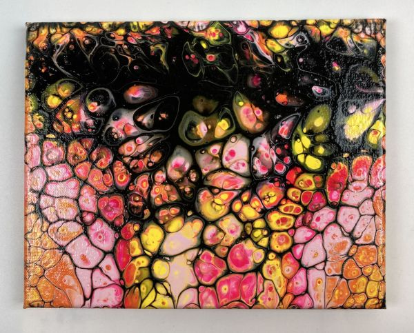 Marigold Safari acrylic pour painting