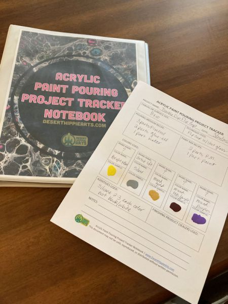 Acrylic Paint Pouring Project Tracker Notebook Desert Hippie Arts