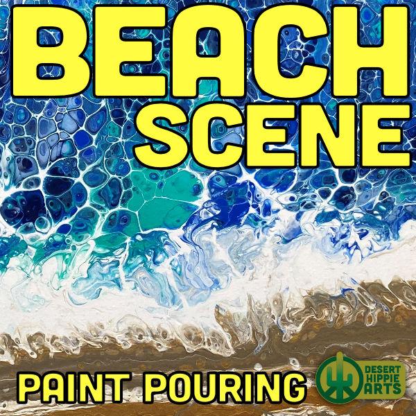 Ocean Beach Scene acrylic Paint Pouring desert Hippie Arts
