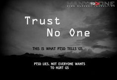 "Greyscale image of a clouded sky, presaging a storm  Text over it says ""Trust no One.  This is what PTSD tells us.  PTSD lies, not everyone wants to hurt us."""