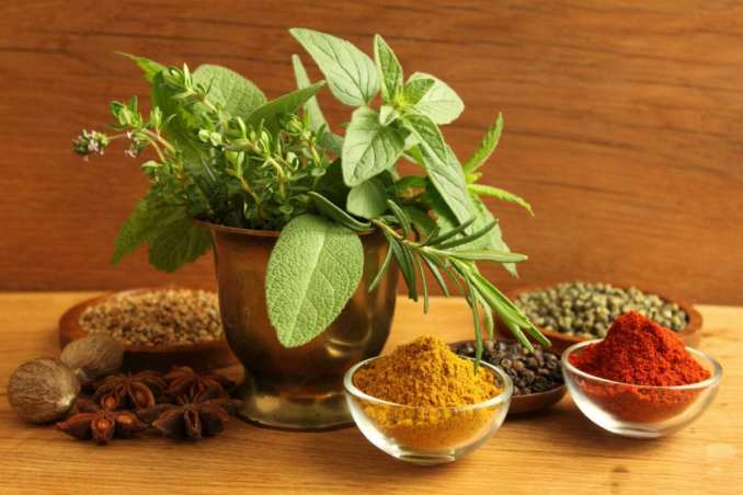 A spice plant, with a couple of piles and a couple of glass bowls of other spices around it.