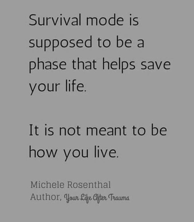 "Text reads: ""Survival mode is supposed to be a phase that helps save your life. It is not meant to be how you live."" - Michelle Rosenthal"