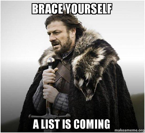 """Picture of Ned Stark from A Game of Thrones with the text """"Brace Yourself, A list is coming"""""""