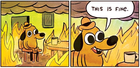 """Cartoon of a dog in a room surrounded by flames, mug of tea on the table in front of it. Speech bubbles says """"This is fine."""""""