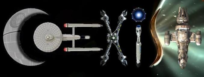 The word 'Co-Exist' written with a variety of spaceships from science fiction worlds.