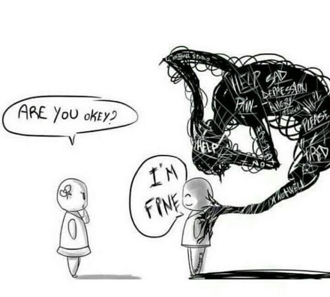 """One humanoid figure facing another humanoid figure.  The first is asking the second """"Are you okey?"""" The second says """"I'm fine"""" - but behind them, tendrils overlaying and lancing into their back and head is a dark cloud made up of pain and frustration and depression and anger and..."""