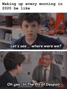 """Text reading """"Waking up every morning in 2020 be like"""" above an image of the kid from the Princess Bride with the words 'Let's see, where were we?' Second frame is the grandfather and the kid with the words 'Oh yes.  The Pit of Despair.'"""