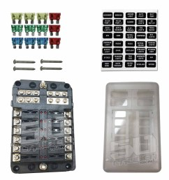 universal 12 way 12v circuit ring terminal fuse box with ground circuits led indicators fuses and [ 1600 x 1600 Pixel ]