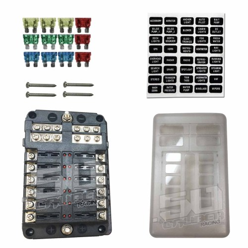 small resolution of universal 12 way 12v circuit ring terminal fuse box with ground circuits led indicators fuses and