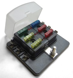 universal 6 way 12v circuit blade terminal fuse box with clear cover led indicators fuses [ 1600 x 1600 Pixel ]