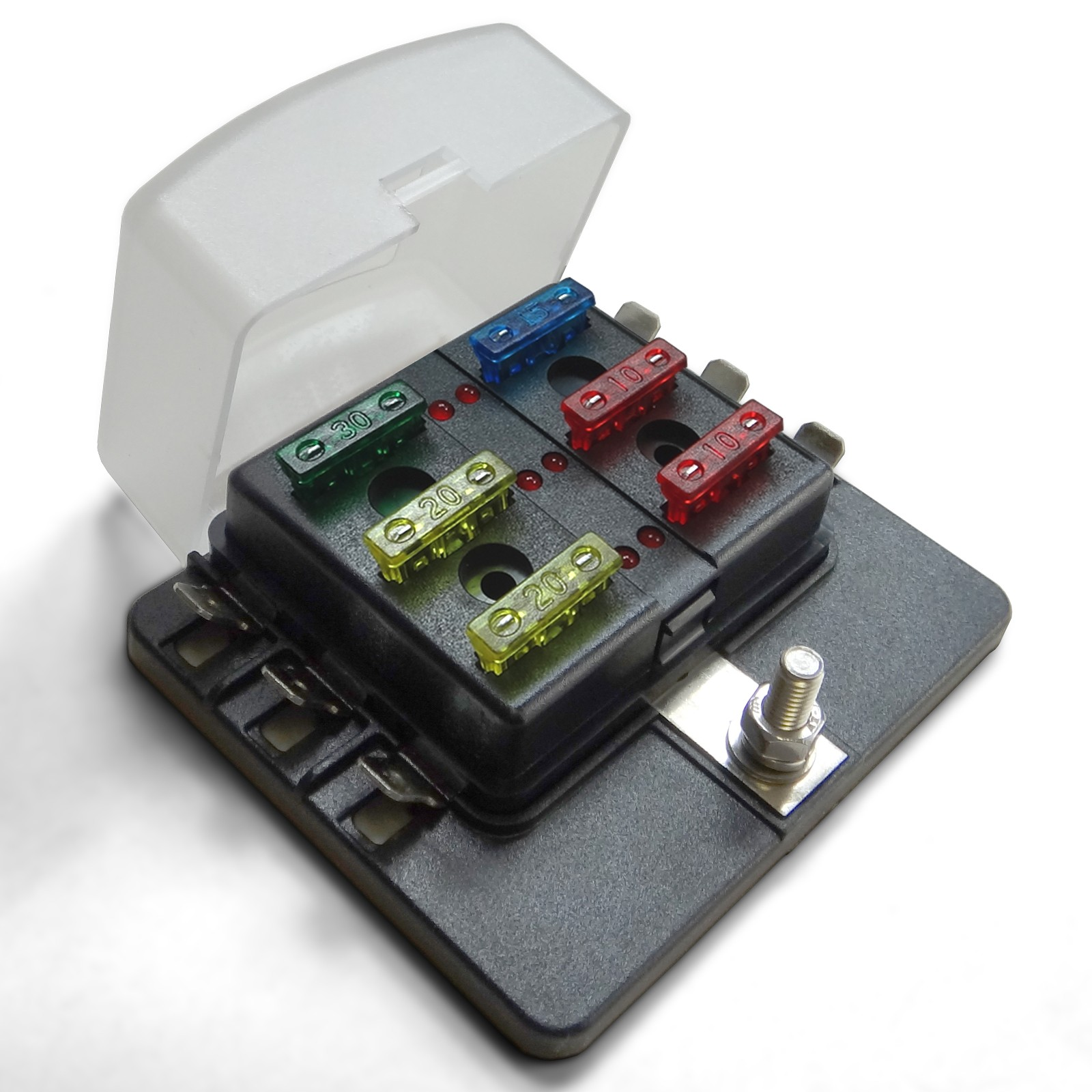 hight resolution of universal 6 way 12v circuit blade terminal fuse box with clear cover led indicators fuses