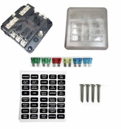 universal 6 way 12v circuit ring terminal fuse box with ground circuits led indicators fuses and [ 1600 x 1600 Pixel ]