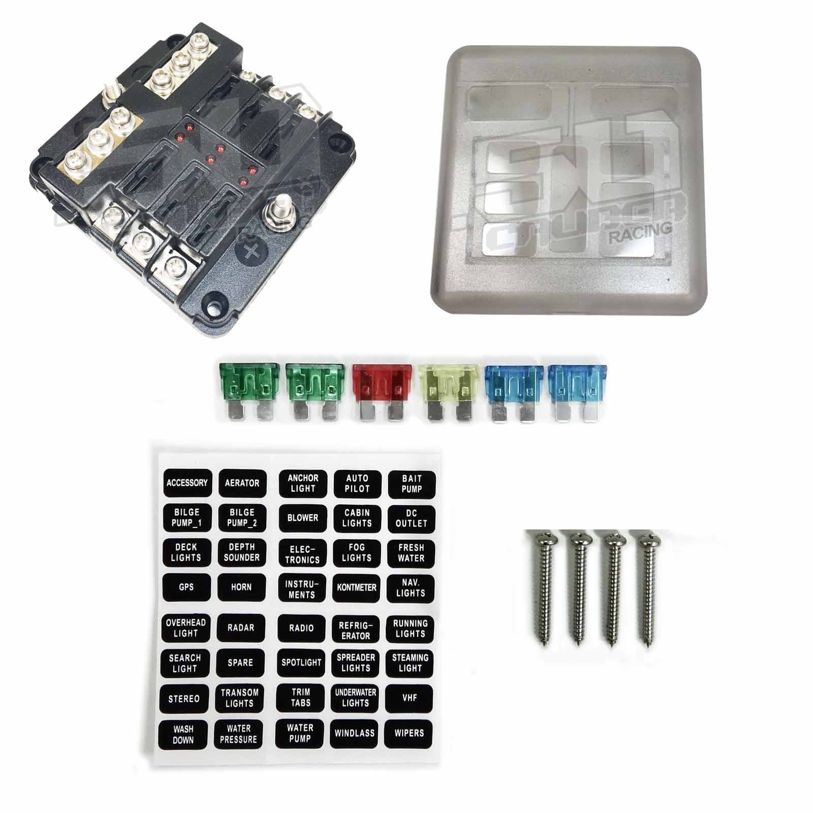 hight resolution of universal 6 way 12v circuit ring terminal fuse box with ground circuits led indicators fuses and