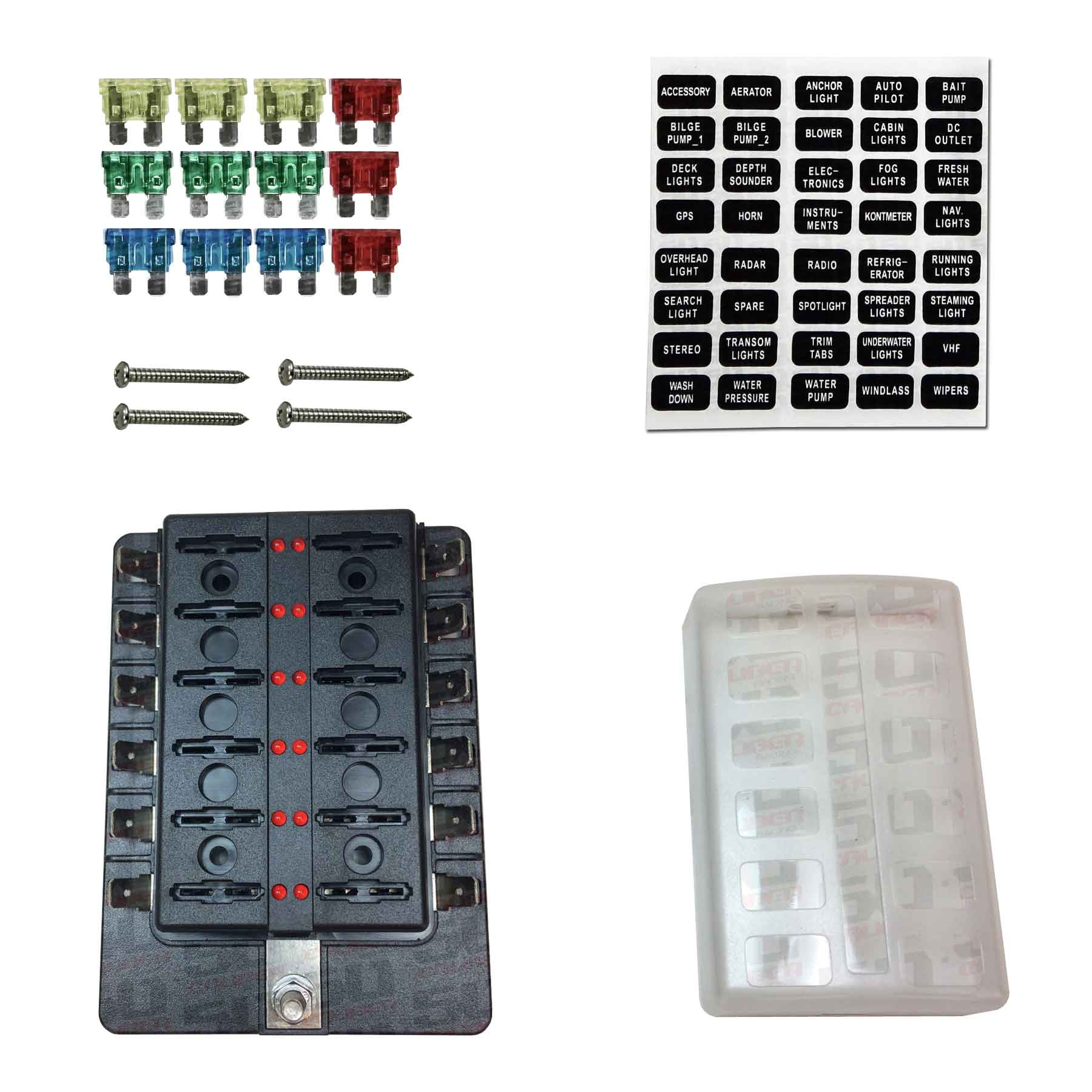 hight resolution of details about 12 way rv farm construction diesel 12v blade fuse box block cover led indicators