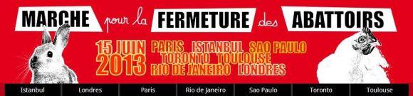 Bandeau du site internet de la Marche pour la Fermeture des Abattoirs 2013