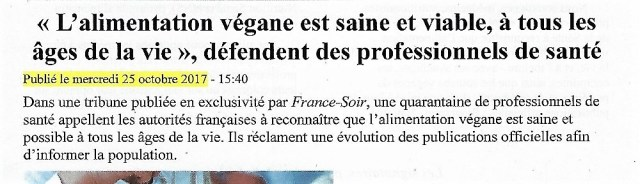Tribune France-Soir - actions véganes