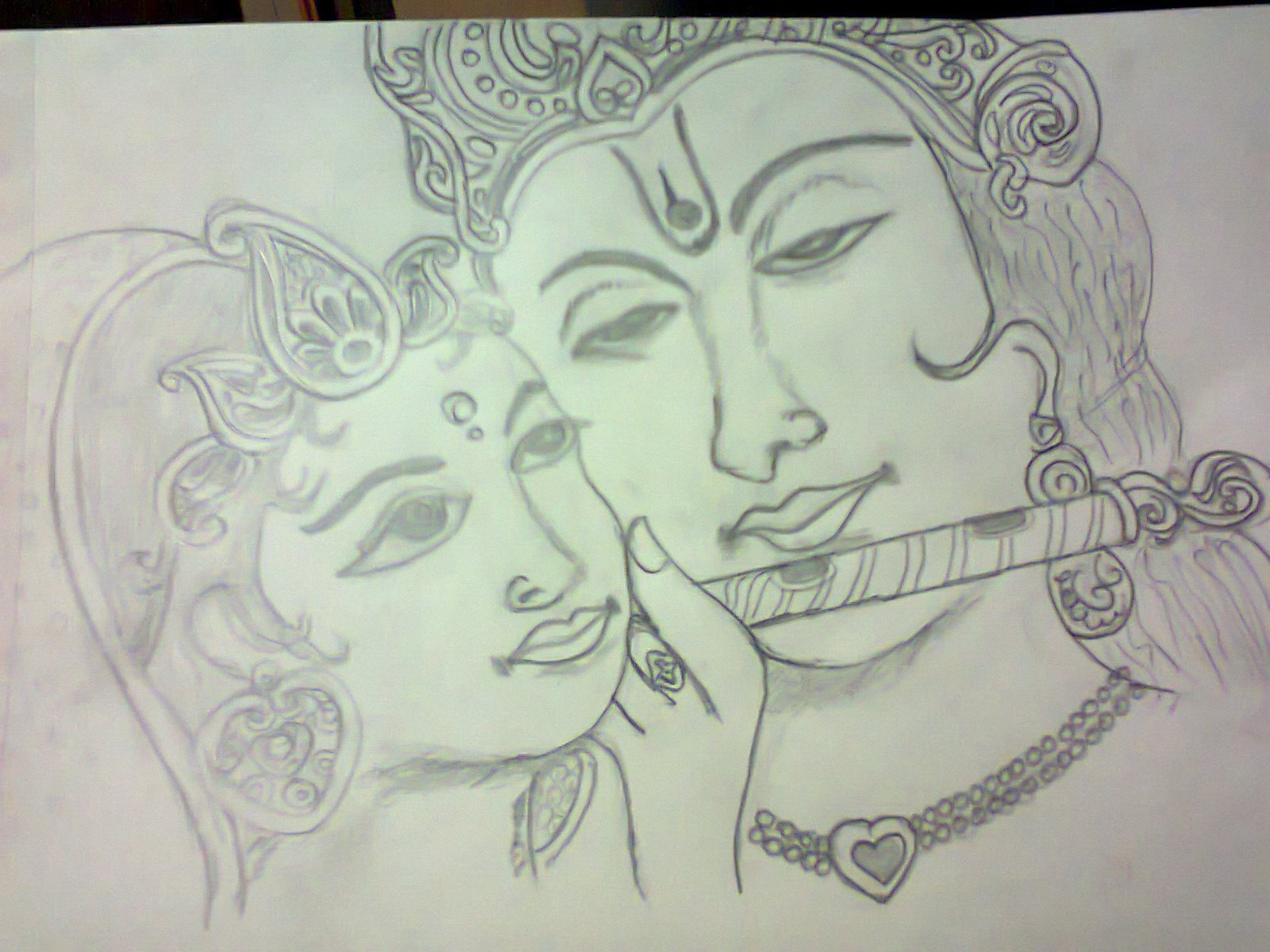 Love Quotes With Wallpapers In Hindi Sketch Of Krishan And Radha Ji Desicomments Com