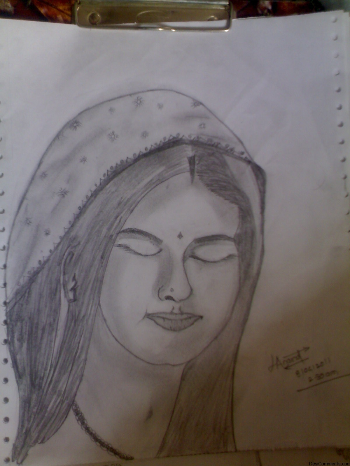 Sketch Of A Praying Girl