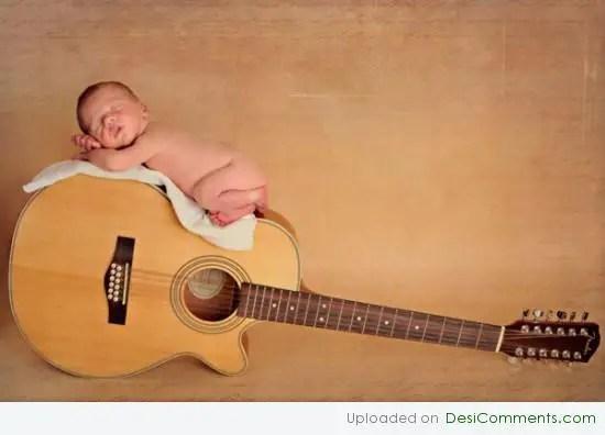 Baby Sleeping On Gittar DesiComments Com