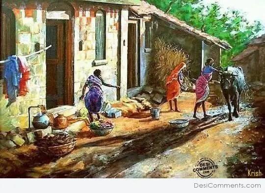Love Propose Quotes Wallpaper Indian Village Painting Desicomments Com