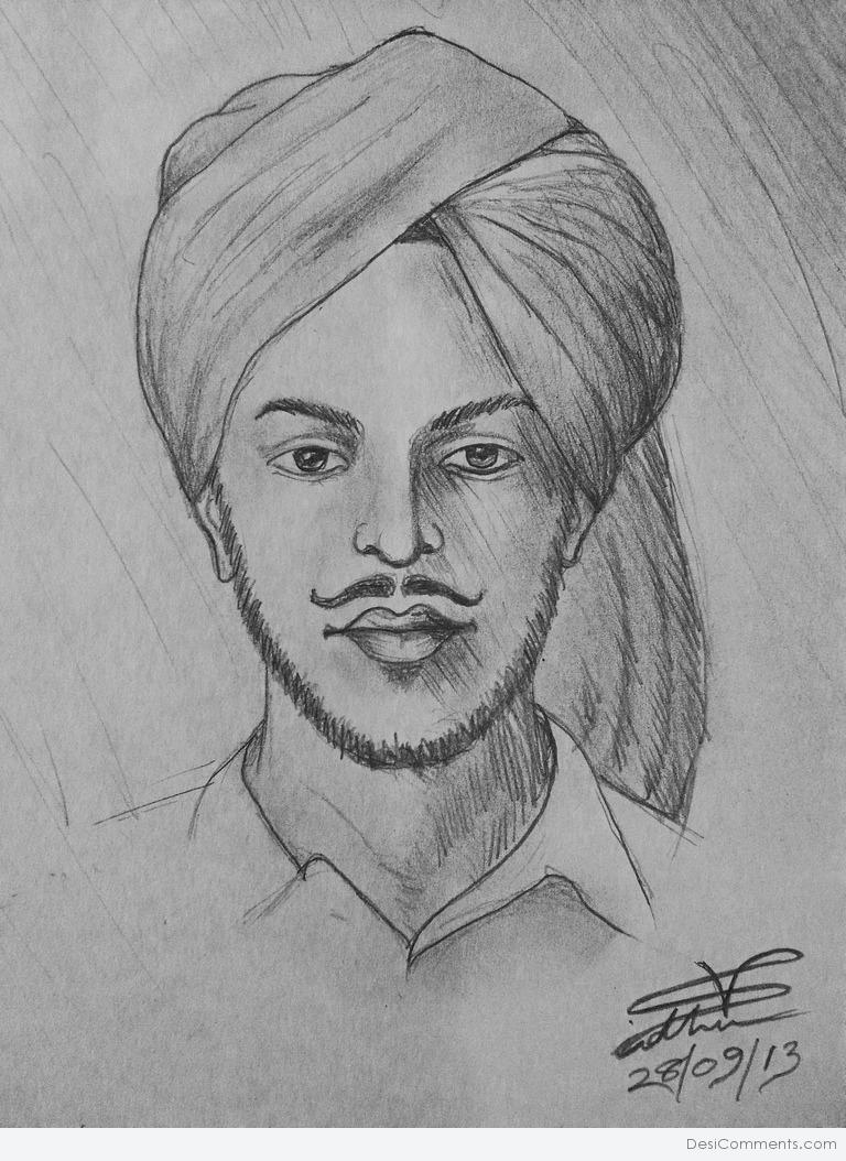 Cute Punjabi Girl Wallpaper Download Pencil Sketch Of Bhagat Singh Desicomments Com