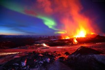 Iceland Northern Lights and Volcano