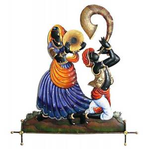 Rajasthani dancing couple bigul iron wall Decor hanging