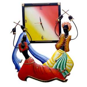 dandiya couple hanging wall clock