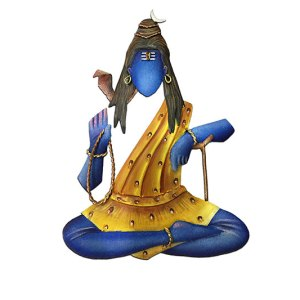 Lord Shiva statue sitting position with one hand in a blessing pose and the other in a resting position