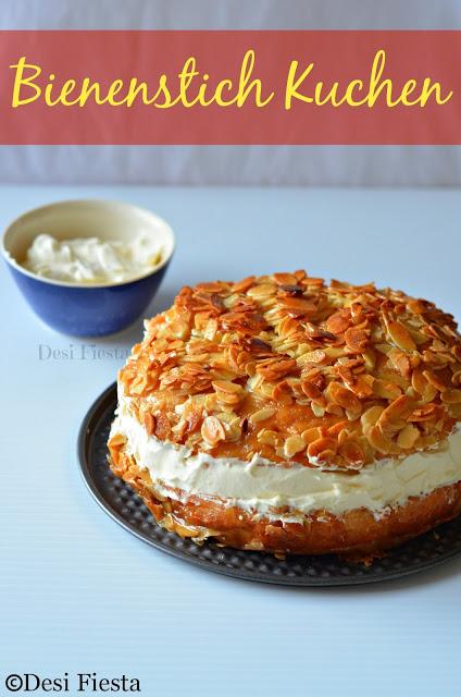 Bienenstich Kuchen (German Bee Sting Cake) - Eggless