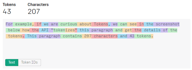 Token text that GPT-3 API converts to before using.