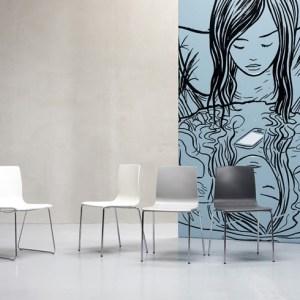 Art.SE03 -Sedia in tecnopolimero, struttura in acciaio. Disponibile in diverse finiture (SCAB)