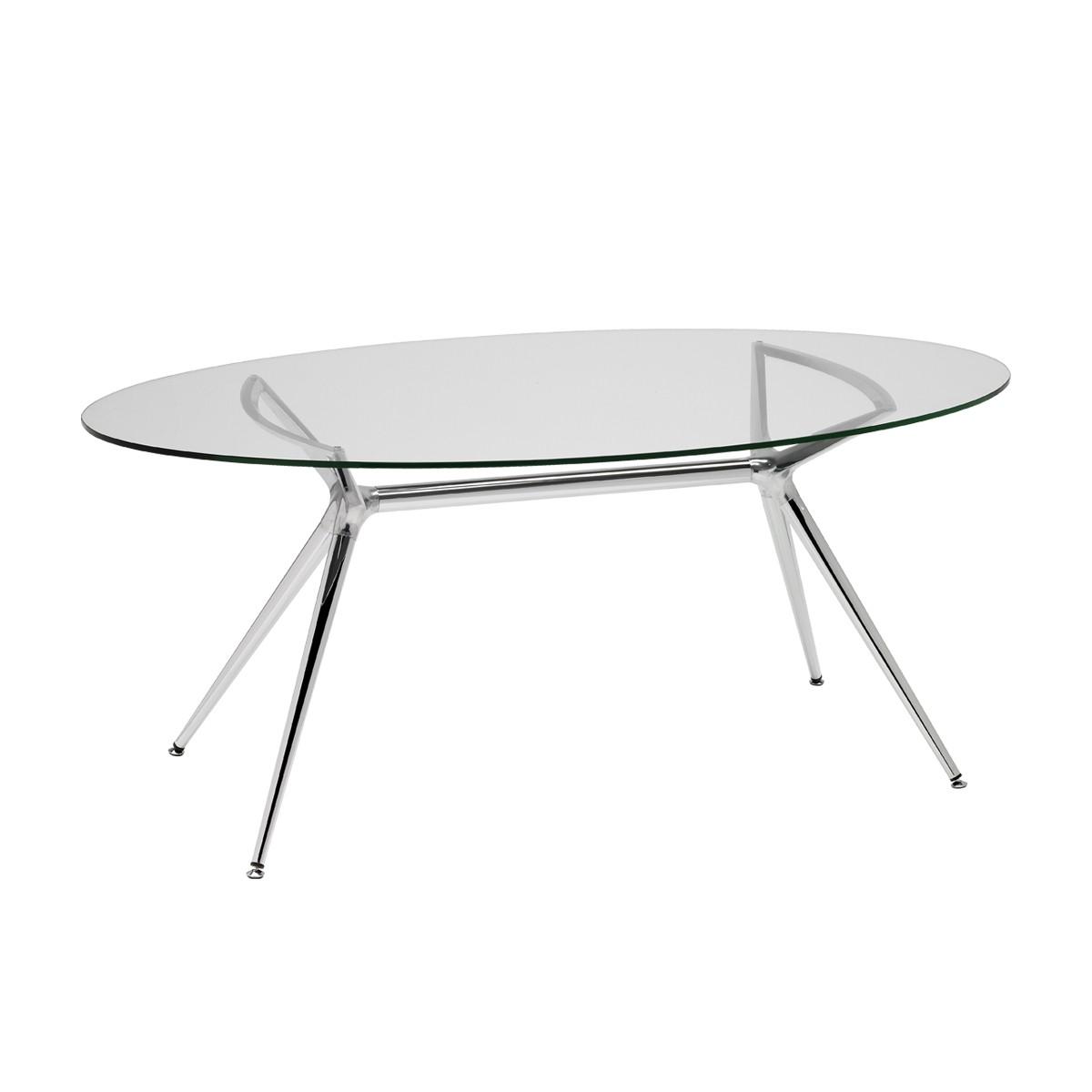 Art.TV05 - Tavolo con piano ovale in vetro e struttura cromata (SCAB)
