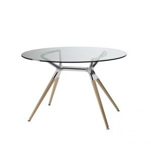 Art.TV01 - Tavolo rotondo con piano in vetro e struttura in legno (SCAB)